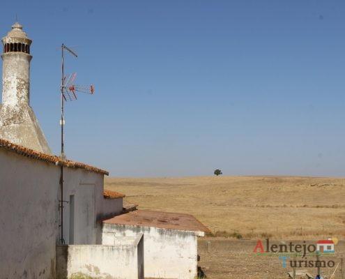 Casa pequena e campos brancos.