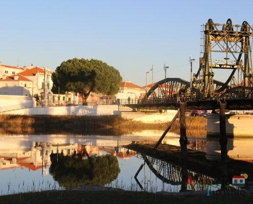 Árvore e ponte refletidas na água.