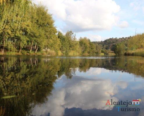 Nuvens e árvores refletidas no rio