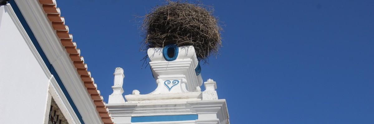Ninho de cegonha na torre da igreja