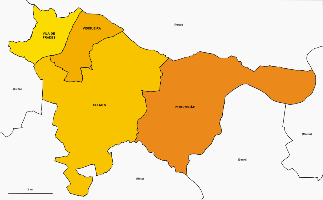 Mapa de freguesias de Vidigueira