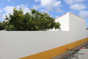Muro de barra laranja com laranjeira