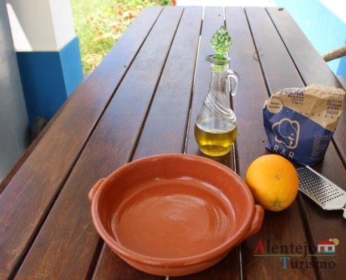 Ingredientes da tiborna com raspa de laranja.